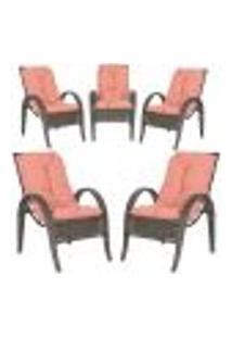 Cadeiras 5Un P/ Jardim Lazer Edicula Varanda Descanso Fibra E Tramas Napoli Plus Pedra Ferro A15