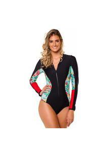 Maiô Kalini Beachwear Manga Longa Recortes Proteção Uv50+ Aruba