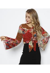 Blusa Floral Com Amarraã§Ã£O- Vermelha & Marromlez A Lez