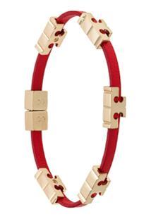 Tory Burch Bracelete Com Logo - Vermelho