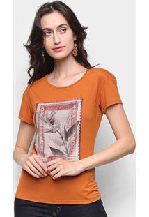 Camiseta Marialicia Básica Feminina - Feminino-Marrom