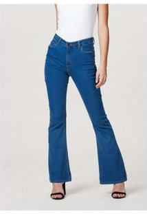 Calça Jeans Feminina Flare Azul-Marinho