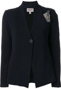 Armani Collezioni Blazer Com Estampa - Azul