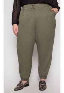 Calça Almaria Plus Size Kayla Valongo Viscose Verde Militar