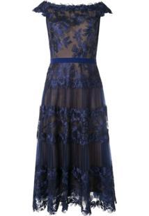 Tadashi Shoji Off The Shoulder Sheer Dress - Azul