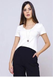 Camiseta Sob Gola V Manga Curta Feminina - Feminino