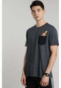 Camiseta Masculina Duff Beer Os Simpsons Com Bolso Manga Curta Gola Careca Cinza Mescla Escuro