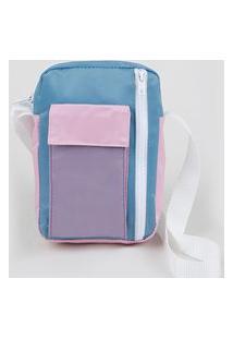 Bolsa Shoulder Bag De Nylon Unissex Transversal Pequena Com Bolso Multicor