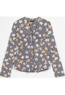 Camisa Listrada Floral