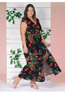 Vestido Transpassado Floral Preto Plus Size