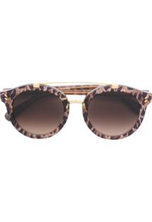 Stella Mccartney Eyewear Óculos De Sol Redondo De Oncinha - Marrom