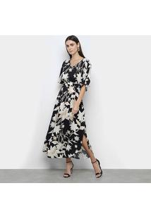 Vestido Morena Rosa Midi Decote V Minha Morena Floral - Feminino-Preto+Caqui