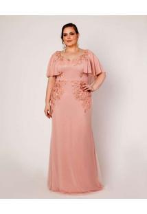 Vestido Almaria Plus Size Pianeta Longo Capa Renda