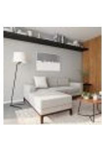 Sofá 3 Lugares Calmness Com Chaise Esquerdo Pés E Base Em Madeira Linho Cotton Cru