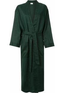 Pour Les Femmes Robe Com Amarração Na Cintura - Verde