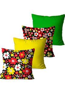 Kit Com 4 Capas Para Almofadas Pump Up Decorativas Amarelo Flores 45X45Cm