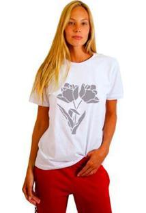 Camiseta Joss Estampada Two Flowers Feminina - Feminino-Branco