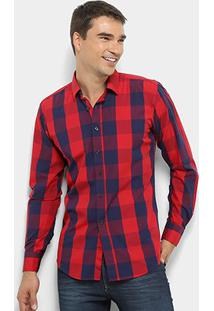 Camisa Xadrez Watkins&Krown Masculina - Masculino-Vermelho+Marinho