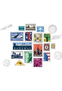 Adesivo De Parede Postal- Azul & Cinza- 60X90Cm-Evolux