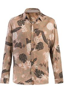 Camisa Masculina Manga Longa Em Tecido Estampado