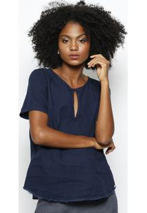 Blusa Lisa Com Recortes- Azul Escurohering
