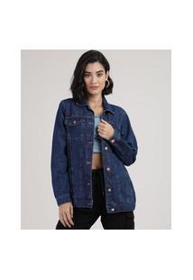 Jaqueta Jeans Feminina Longa Com Bolsos E Botões Azul Médio