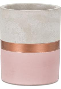 Vaso Em Cimento 9X8Cm Rosa E Cobre