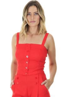 Blusa Cropped Lisa Com Alã§A E Botãµes Aha - Vermelho - Feminino - Dafiti