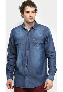 Camisa Jeans Gajang Wilton Manga Longa Masculina - Masculino-Azul