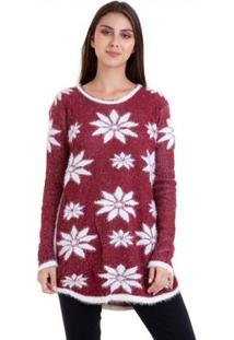 Suéter Tricot Florido - Feminino-Vermelho