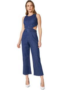 Macacão Jeans Com Abertura