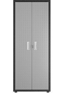 Armário Multiuso Alto Itatiaia Titanium 2 Portas Cinza/Preto Com Chave