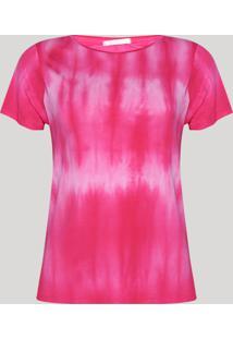 Blusa Feminina Estampada Tie Dye Manga Curta Decote Redondo Pink