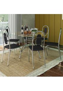 Conjunto De Mesa Com 6 Cadeiras Sicília Aço Cromado
