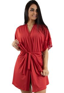 Robe Diluxo Romantic Com Renda Vermelho
