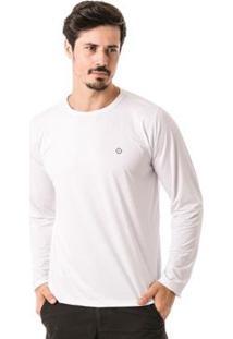Camiseta Térmica Para Frio Manga Longa Com Proteção Solar Extreme Uv - Masculino-Branco