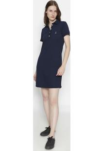 Vestido Com Bordado Frontal- Azul Marinho & Brancoclub Polo Collection