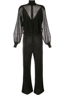Alberta Ferretti Lurex Long Sleeve Jumpsuit - Preto