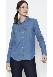 Camisa Jeans Com Bolsos - Azullevis