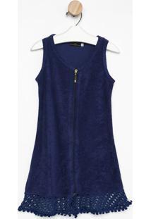 Robe Atoalhado Com ZãPer- Azul Escuro- Daniela Tombidaniela Tombini