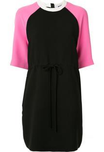 Msgm Vestido Reto Bicolor - Rosa