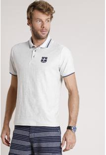 Polo Masculina Maquinetada Com Patch Manga Curta Off White