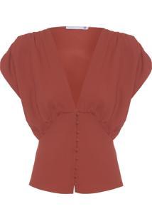 Blusa Feminina Decote V Com Botões Forrados De Crepe - Vermelho