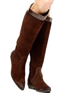 281bee784c02b Bota Couro Cano Longo Shoestock Flat Mix Materiais Feminino - Feminino- Marrom