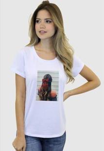 Camiseta Suffix Blusa Estampa Aplicada Em Tecido Cabelo Morena Strass Basica Gola Redonda Feminina - Feminino-Branco