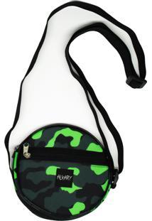 Bolsa Pequena Redonda Alkary Camuflada Verde Claro