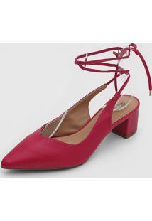 Scarpin Dafiti Shoes Amarraã§Ã£O Rosa - Rosa - Feminino - Sintã©Tico - Dafiti