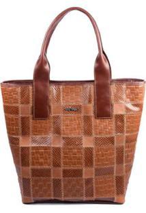 Bolsa Couro Griffazzi Shopping Bag - Feminino-Caramelo