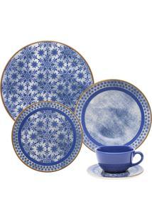 Aparelho De Jantar E Chá Oxford 30 Peças Cerâmica Unni Jeans Azul