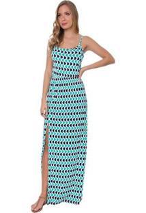 Vestido Longo Rosa Helena Tricot Copacabana Bolinhas Feminino - Feminino-Azul